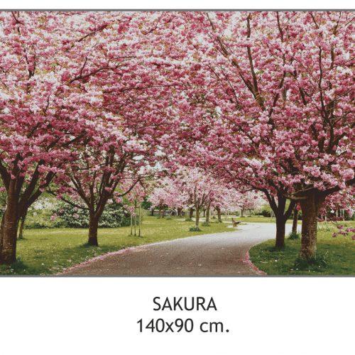 Arazzo jacquard Sakura con ciliegi giapponesi